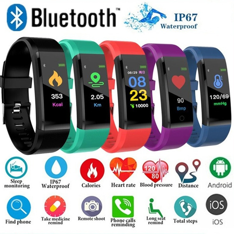 Smart Band Watch Blood Pressure Heart Rate Monitor Fitness T