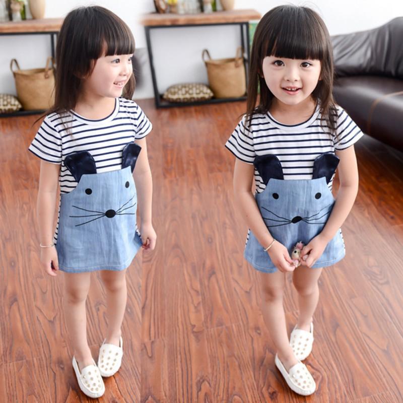 Baby Girls Clothes Denim Dresses Cartoon Mouse Stripe Dress
