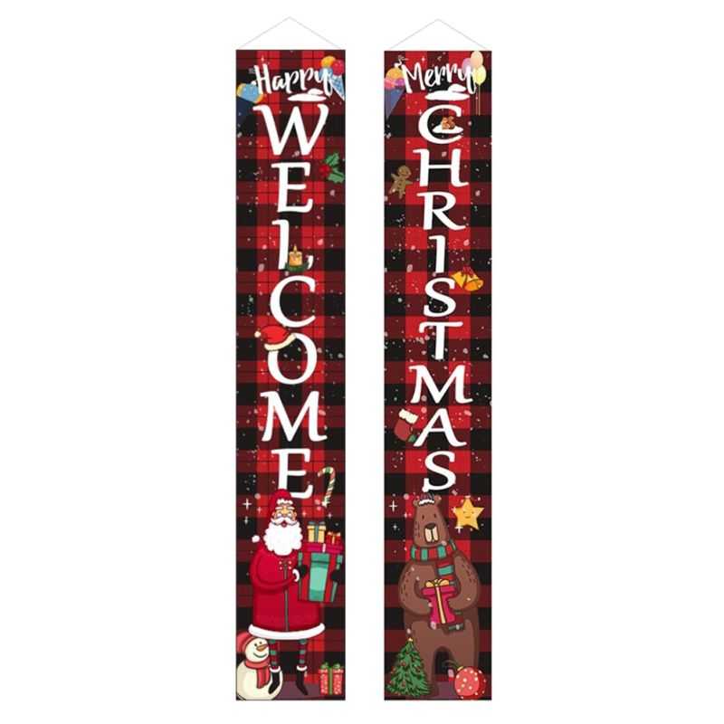 Merry Christmas Banner Wall Hanging Door Curtain Home Party Decoration Ornaments